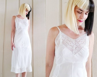 2486398022178 1950s White Rayon Acetate Dress Slip | Vintage 50s Lace Trimmed Full Slip |  Women's Lingerie Medium 36
