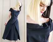 1950s Black Gabardine Cocktail Dress Vintage 50s Short Sleeve Fit n Flare Evening Dress Women 39 s Clothing Medium 28 Waist