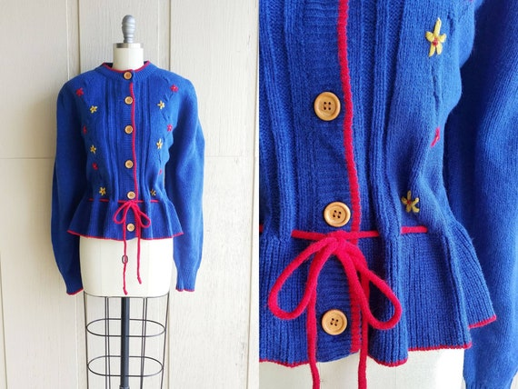 3d9f8417815 40s Style Bavarian Cardigan   Vintage Cobalt Blue Red Yellow Floral  Embroidered Puffed Sleeve Knit Alpine Sweater   1940s Inspired Top