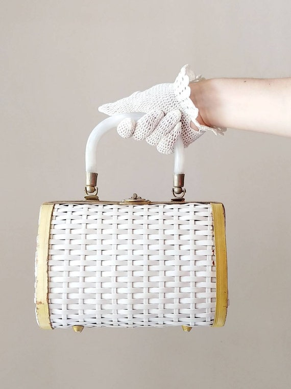 1960s White Faux Wicker Purse | Vintage 60s Woven