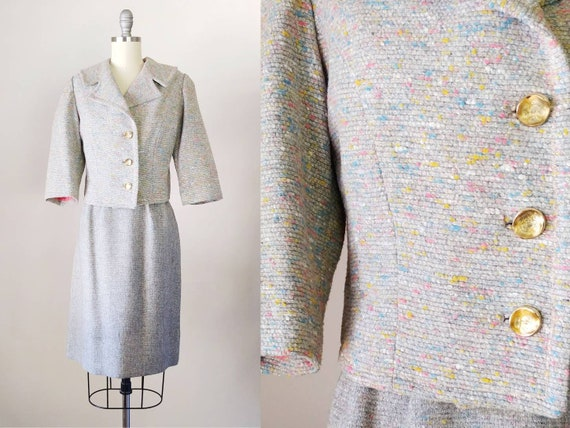 1960s Grey Candy Colors Flecked Secretary Suit   V