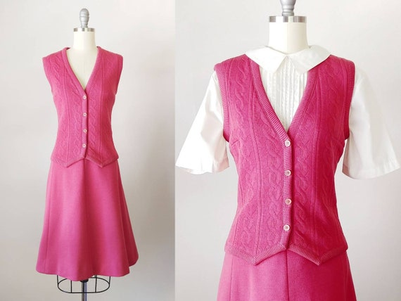 1970s Rose Pink Wool Knit Set | Vintage 70s Cable