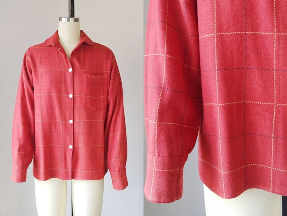 1960s Red Wool Plaid Work Shirt | Vintage 60s Coll