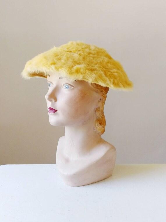 1950s Creme Brulee Furry Mohair Saucer Hat | Vinta