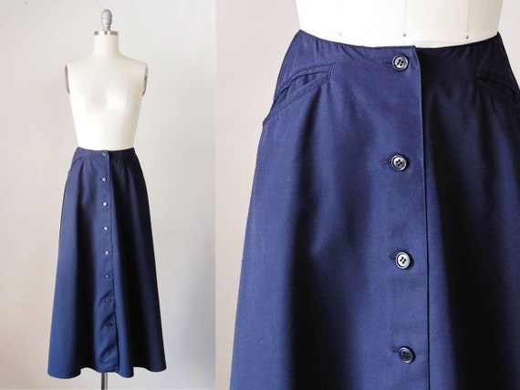 1980s Liz Claiborne Navy Blue Walking Skirt | Edwa
