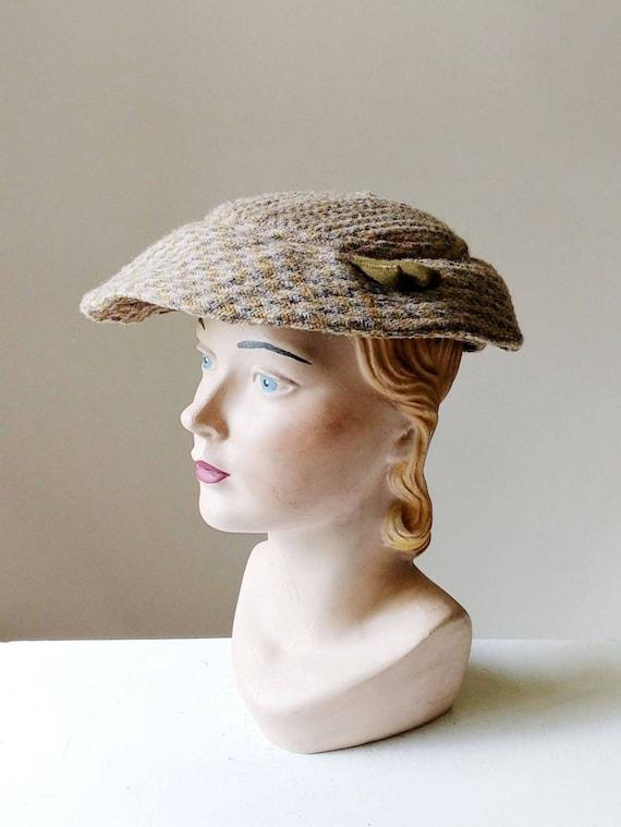 1950s Tweed Saucer Hat | Vintage 50s Dusty Blue Gr