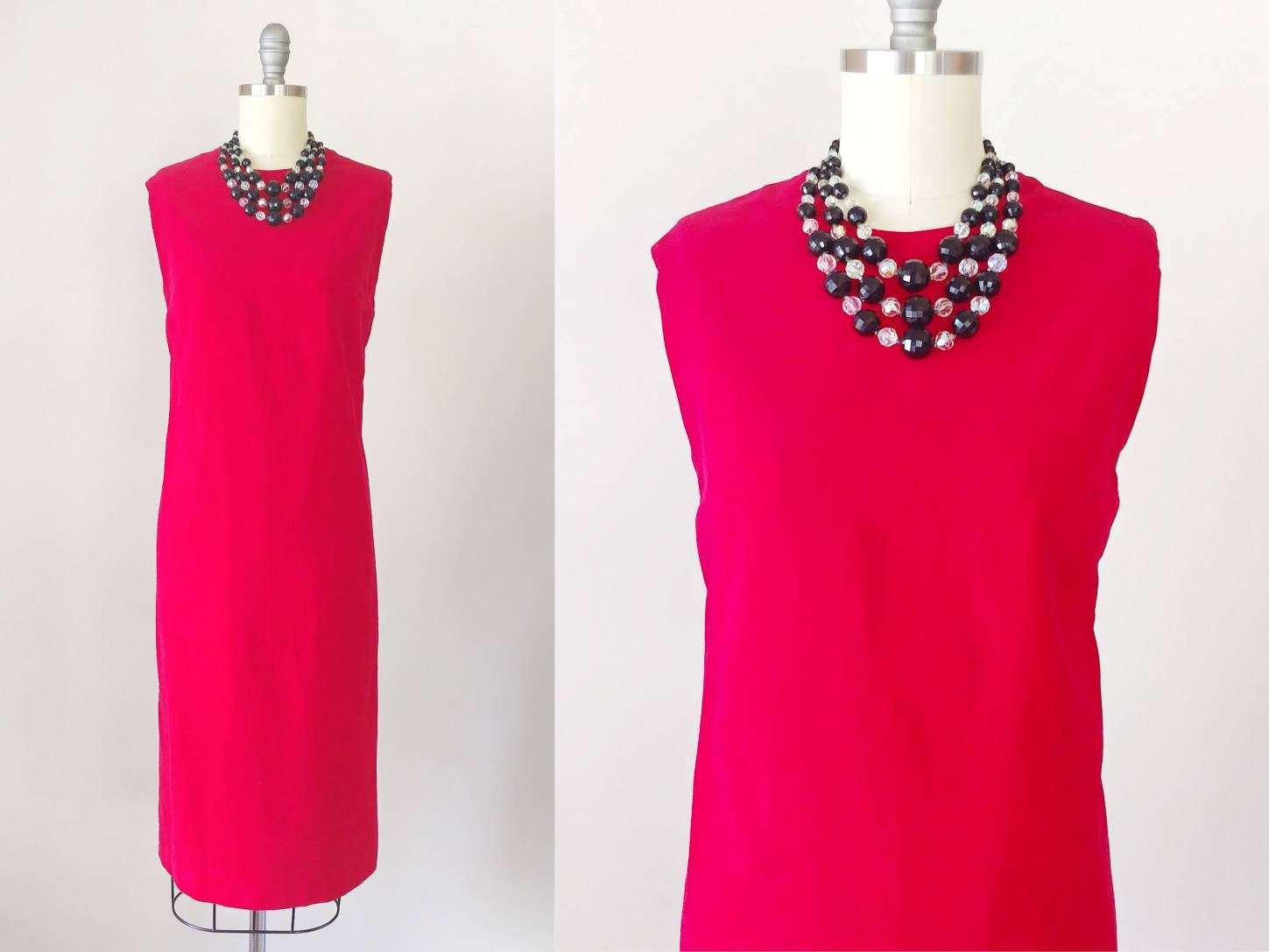 60s -70s Jewelry – Necklaces, Earrings, Rings, Bracelets 1960S Red Velour Sheath Dress  Vintage 60S Sleeveless Holiday Party Womens Clothing Xs Small $74.00 AT vintagedancer.com