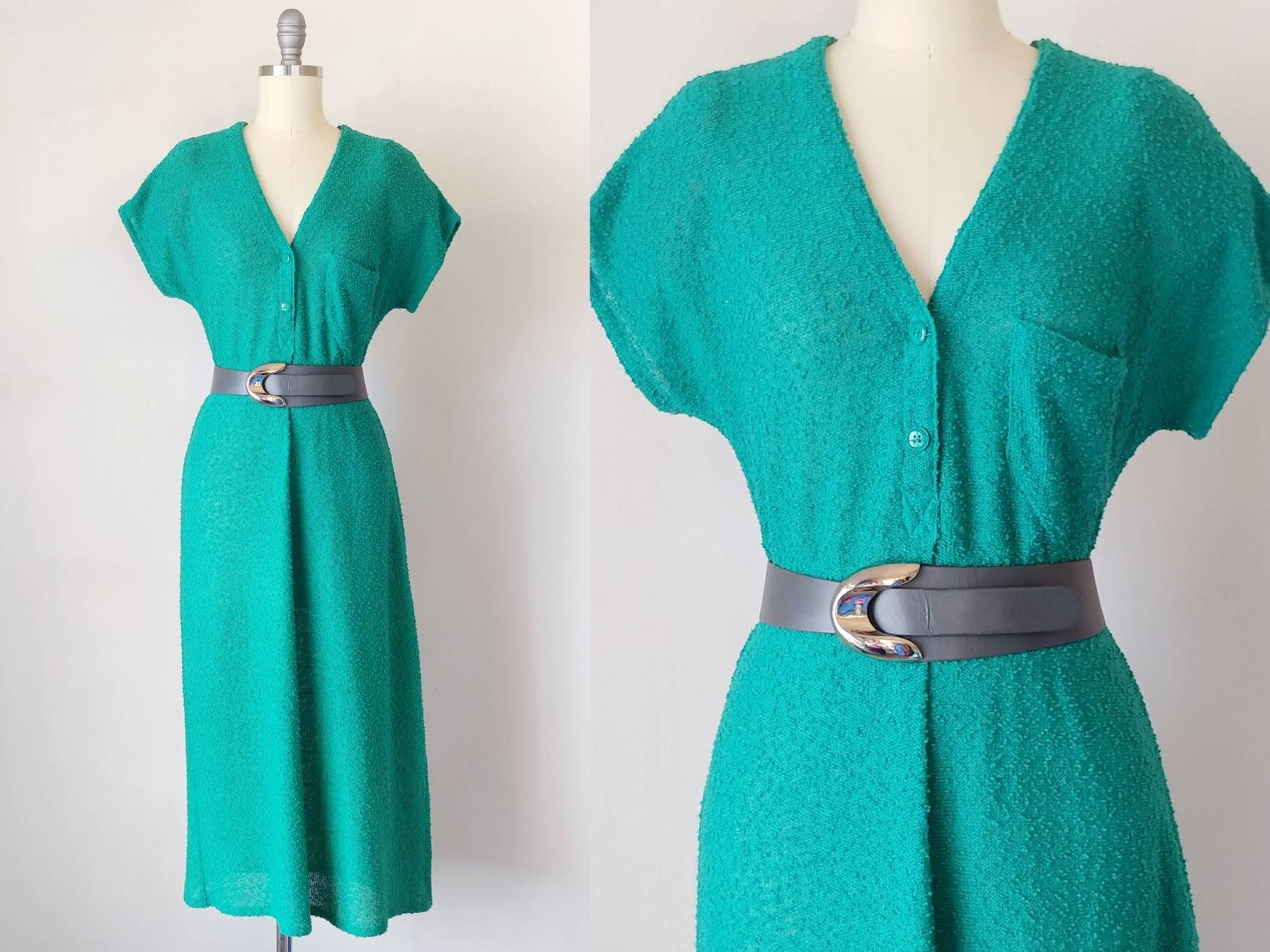 80s Dresses | Casual to Party Dresses 1980S Diane Von Furstenberg Emerald Green Boucle Knit Henley Dress  Vintage 80S Button Down Shirt Womens Clothing Small $0.00 AT vintagedancer.com