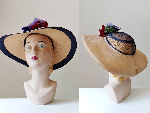 1930s Wide Brim Straw Halo Hat | Vintage 30s Summe
