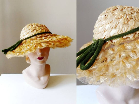 1930s Vincent de Koven Wide Brim Straw Hat | Vinta