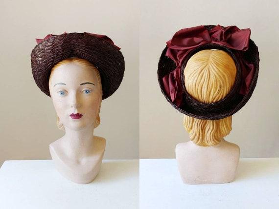 1940s Open Crown Raffia Straw Hat   Vintage 40s Br