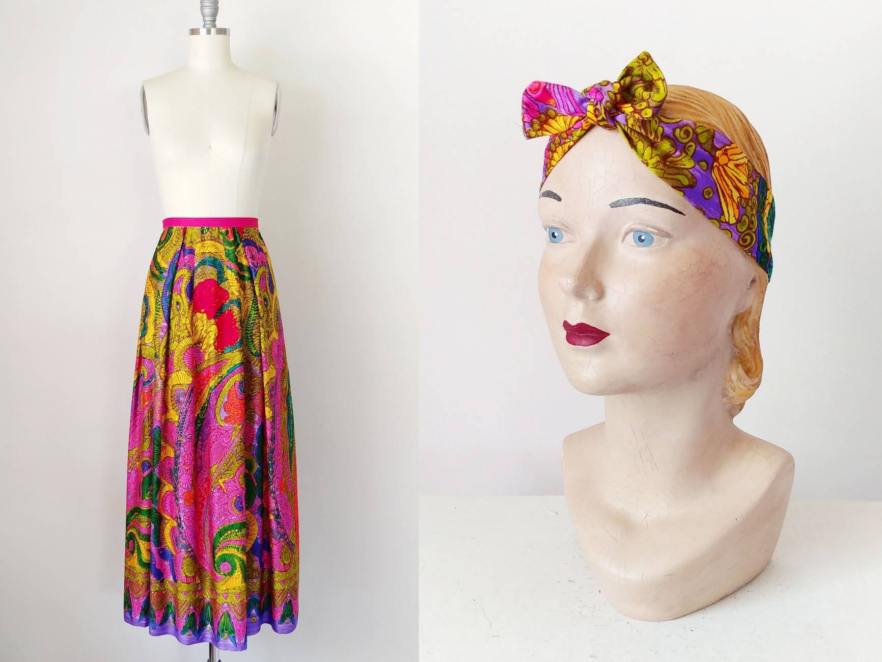 Vintage Scarf Styles -1920s to 1960s 1960S Psychedelic Floral Maxi Skirt  Scarf Set  Vintage 60S Hot Pink Purple Gold Green Womens Clothing Small Medium $66.60 AT vintagedancer.com