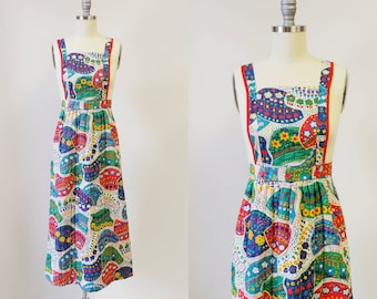 1970s Quilted Calico Convertible Pinafore Dress | Vintage 70s Floral Jumper Dress | Womens Maxi Skirt XXS