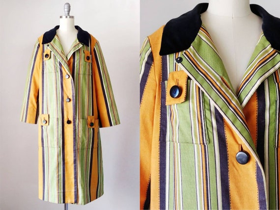 1960s Diorling by Christian Dior Striped Fall Coat