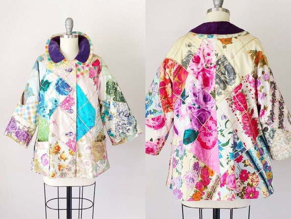 1960s Patchwork Crazy Quilt Jacket | Vintage 60s C