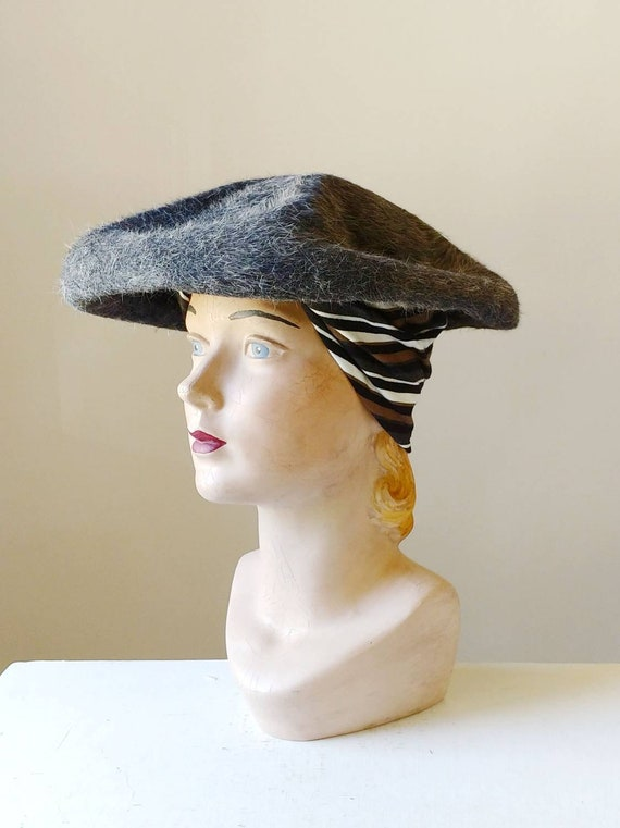1950s Heather Grey Sculpted Saucer Hat | Vintage 5