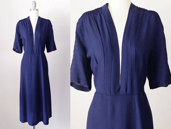 1940s Navy Blue Rayon Jersey Dress | Vintage 40s P