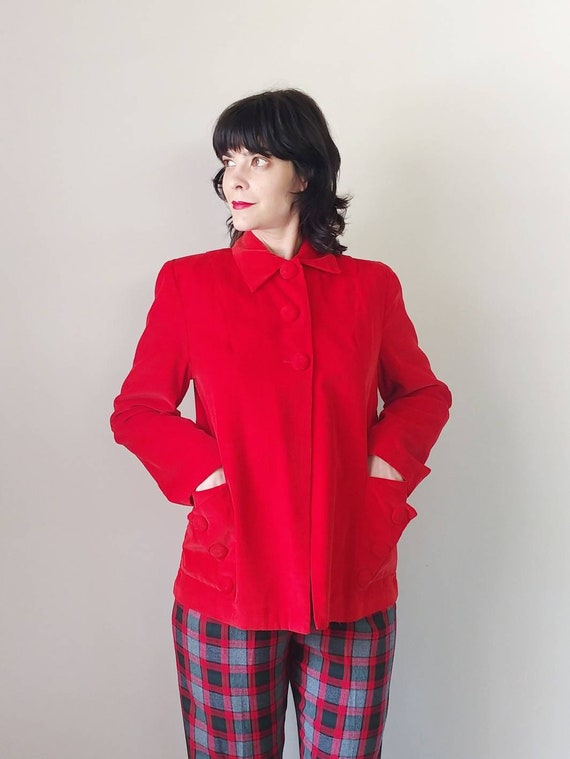 1940s Red Corduroy Jacket | Vintage 40s Pointed Co