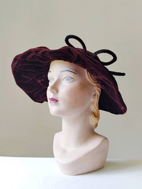 1930s Brown Velvet Picture Hat | Vintage 30s Brimm