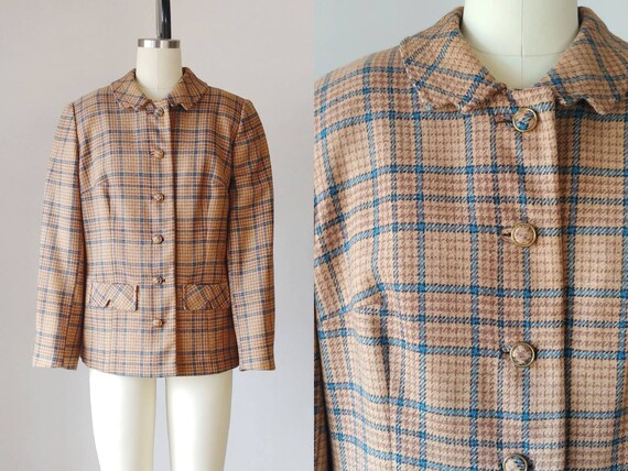 1950s Houndstooth Plaid Jacket | Vintage 50s Tan a