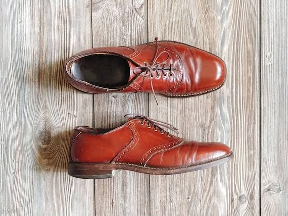 1960s Leather Wingtip Oxfords | Vintage 60s Brown