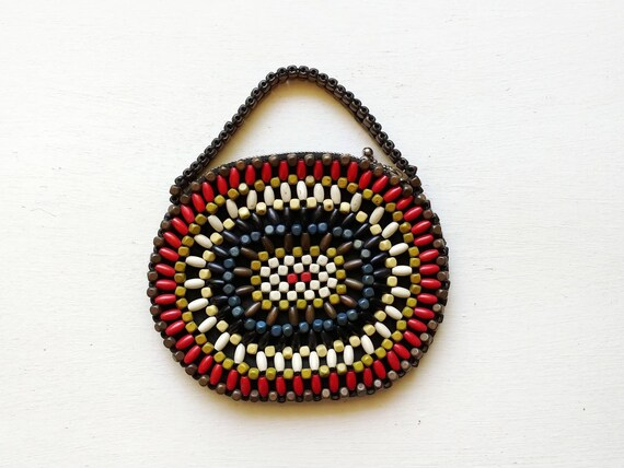 1930s Rainbow Wood Beaded Purse | Vintage 30s Colo
