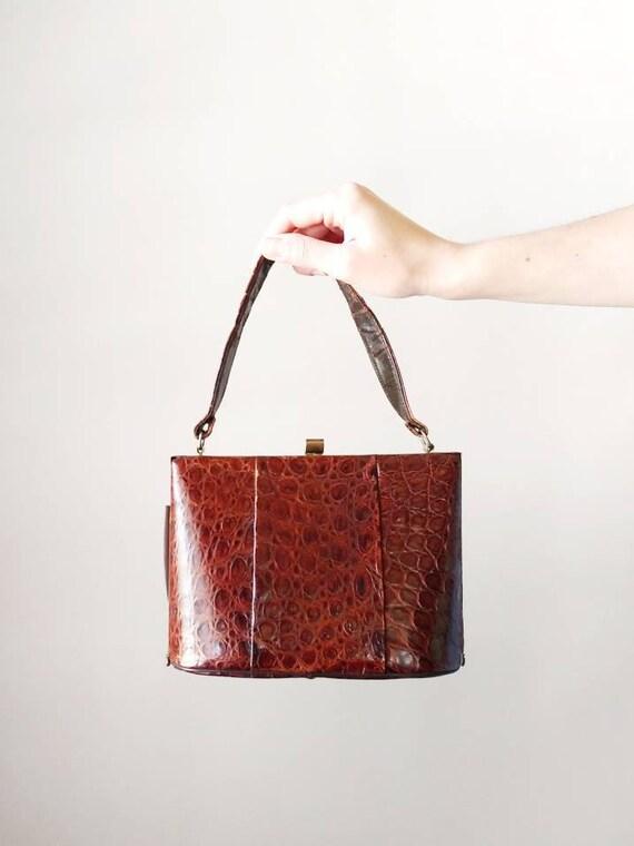 1940s Alligator Handbag | Vintage 40s Brown Reptil