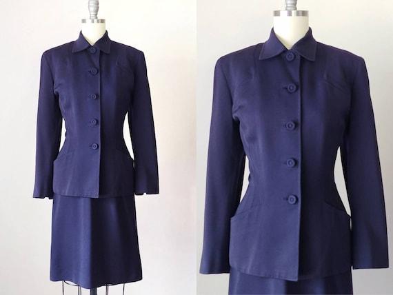1940s Navy Blue Wool Gabardine Suit   Vintage 40s