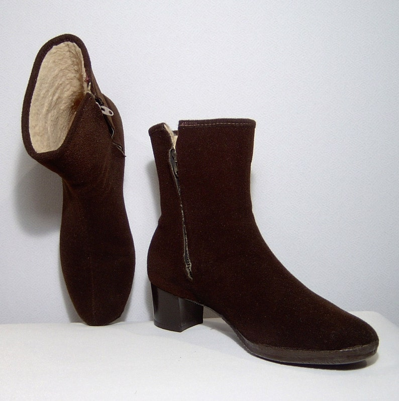 c0c50c0d128f6 1960s dark brown wool and fluffy fleece ankle boots - 7.5 - made in Canada  - comfortable elegant and warm