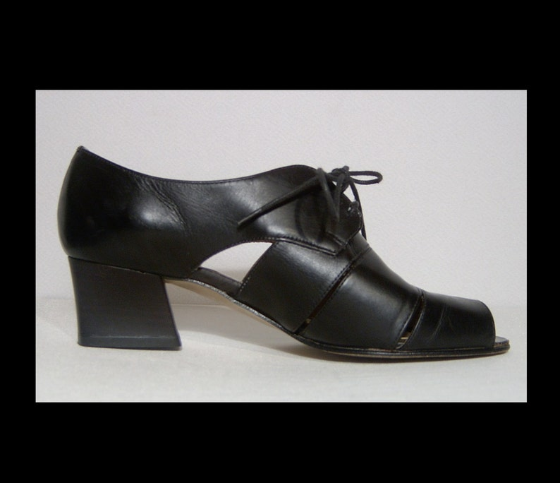 dc68abd18ba5f Bandolino black leather cut out shoes ~ 5.5 ~ lace up oxfords with peeptoes  ~ Made in Italy ~ high heels ~ Italian