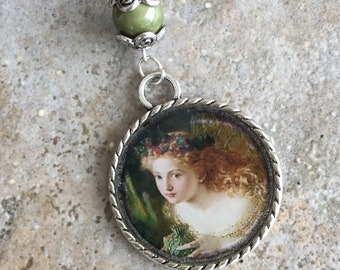 Woodland Fairy Fae Round Resin Charm Pendant with Beads Necklace Romantic Art Boho Gifts Under 10