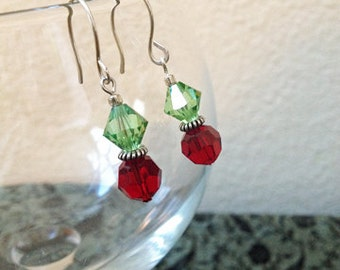 SALE Swarovski Peridot Bicone Garnet Round Crystal Bead Dangle Earrings Elegant Christmas New Years Holiday Jewelry Gifts Under 10