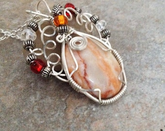 Wire wrap Jewelry Natural Stone Pink Web Jasper Cab Pendant with Crystal Glass Metal Beads Necklace Romantic Boho Gifts Under 15
