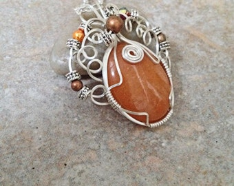 Wire wrap Jewelry Natural Stone Red Scenic Jasper Oval Cab Pendant with Crystal Glass Metal Beads Necklace Romantic Boho Gifts Under 15