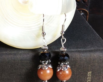 Steampunk Black, Amber and Silver Dangle Earrings Victorian Jewelry Gifts Under 10