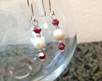 SALE Freshwater Pearl Swarovski Siam Bicone Crystal Bead Dangle Earrings Elegant Christmas Holiday Jewelry Gifts Under 10