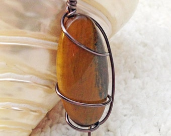 Tigers Eye Natural Stone Wire Wrapped Swirl Pendant Necklace Jewelry Gifts Under 10