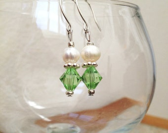 SALE Swarovski Peridot Bi-cone Crystal and Natural Freshwater Pearl Bead Dangle Earrings Elegant Christmas Holiday Jewelry Gifts Under 10