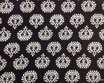 Black and White Screen Print Indian Cotton Dress Fabric by Yard