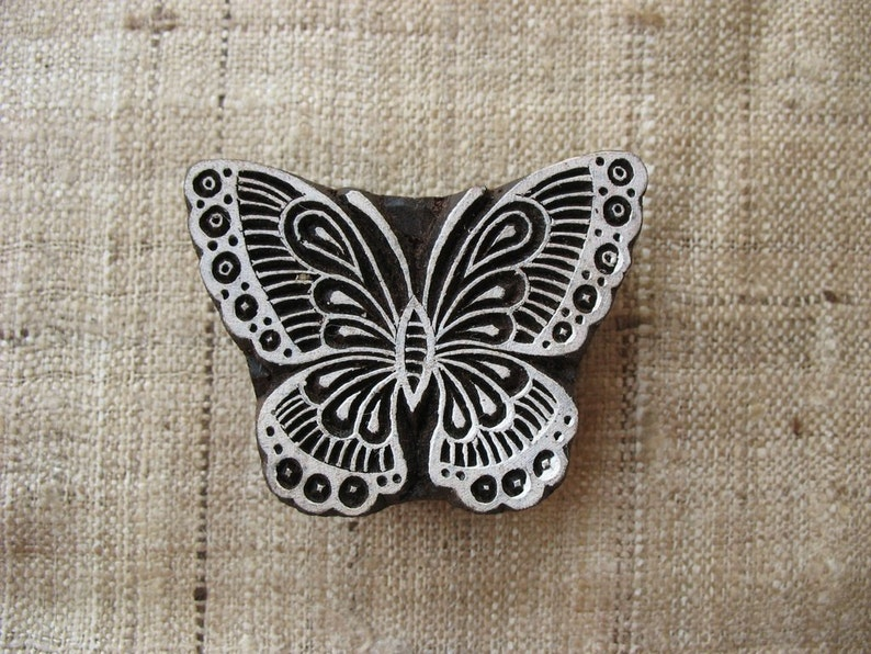 Butterfly Stamp Handcarved Wooden Block Print Insect