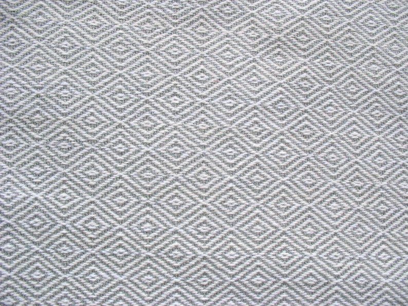 Gray and White Diamond Pattern Fabric Textured Cotton Upholstery  Pillow Throw Fabric