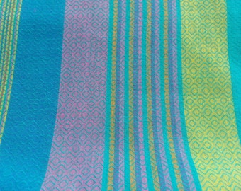 Half  Yard Handloom Cotton Multicolor Striped Fabric Remnant