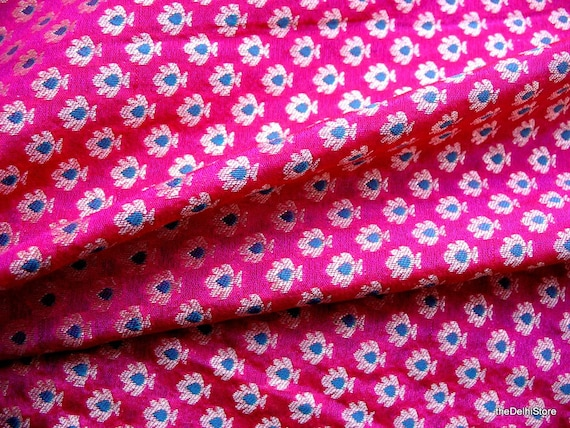 pure silk floral brocade fabric in fuchsia and gold color sold etsy
