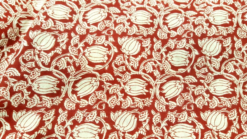 Lotus Flower Screen Print Indian Cotton Fabric Sold By Yard Etsy
