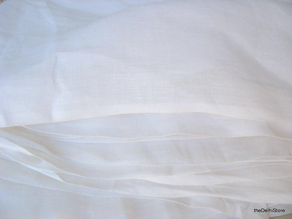 White Linen Fabric Yardage / Extra Wide Pure Linen Fabric ...