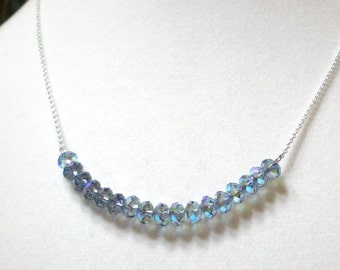 """Blue crystal bar necklace - Swarovski crystals & sterling silver 19"""" necklace, crystal jewelry, modern minimalist design, gift for her"""