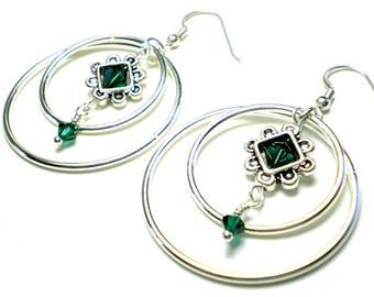 Double hoop earrings - large silver hoops, emerald Swarovski crystal, 1 1/2 inch statement earrings, extra large silver circle earrings,