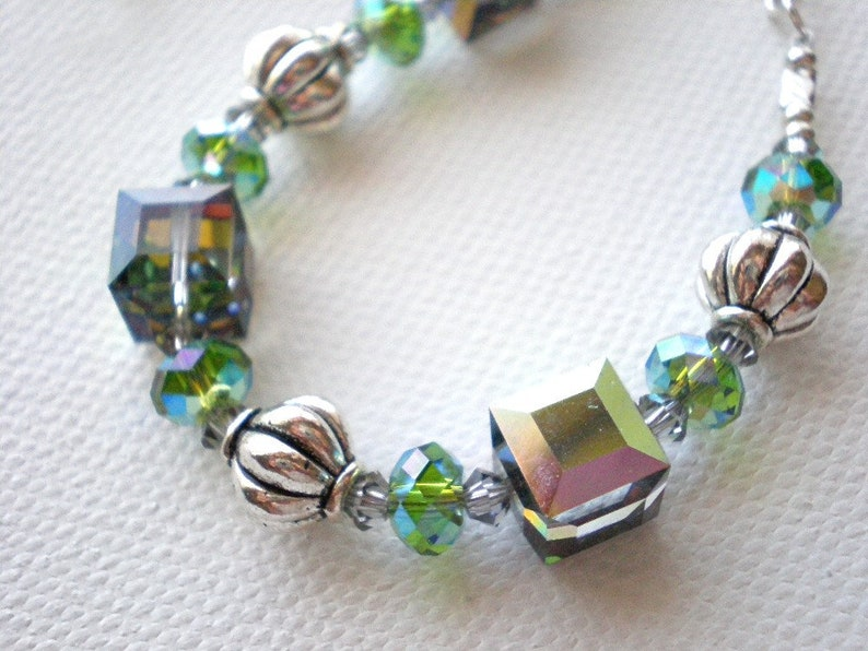 af339153e7d89 Green crystal cube bracelet, Swarovski mixed crystal beads, green and  silver jewelry, adjustable sterling silver chain