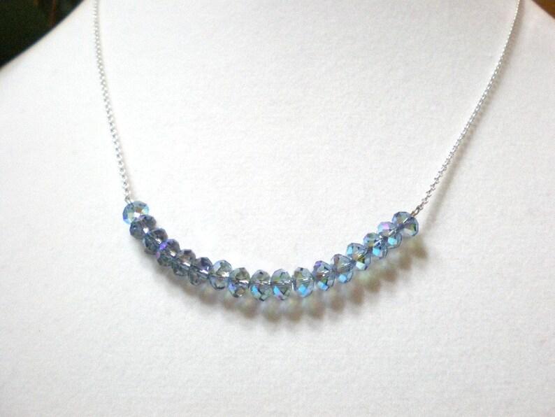 b4ec2598da5a5 Blue crystal bar necklace, 19