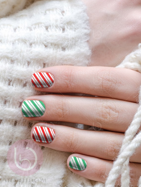 Peppermint Nail Waterslide Decal Nail Design Nails Press On